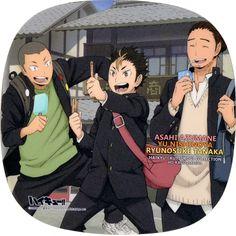 Tags: Official Art, Haikyuu!!, Tanaka Ryunosuke, Nishinoya Yuu, Azumane Asahi