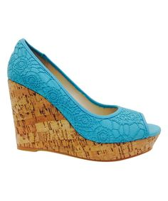 Another great find on #zulily! Turquoise Crochet Parker Wedge by Bamboo #zulilyfinds