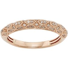 1/5 CT. T.W. Certified Diamond 14K Rose Gold Wedding Band (2.895 RON) ❤ liked on Polyvore featuring jewelry, rings, gold, diamond rings, pink gold diamond rings, pink gold rings, 14 karat gold ring and diamond jewelry