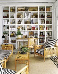 bookshelves and stripes.