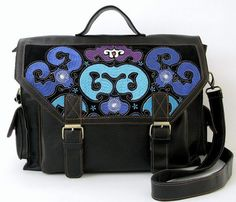 Blue and Black Embroidered Purse