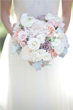 Pale pink and purple Bouquet add lt yellow and pool blue