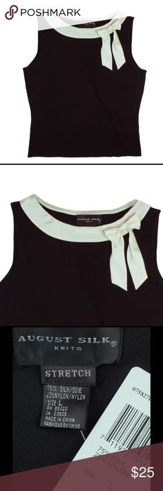 """New AUGUST SILK Silk Knit Sleeveless Sweater This new black silk knit Sleeveless sweater from August Silk features Ivory Silk trim at the neckline with a bow design. Fitted style. Please check measurements - even though it's a size L - the measurements are more in line with a size M. Made of a Silk blend. Measures: bust: 37"""", total length: 22"""" august silk Sweaters Crew & Scoop Necks"""