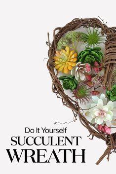 Succulent Wreath DIY Create a succulent wreath for your home with artificial succulents from Afloral.com. Succulent Bouquet, Succulent Care, Succulent Arrangements, Succulent Terrarium, Tall Succulents, Artificial Succulents, Diy Wreath, Wreaths, Diy Flowers