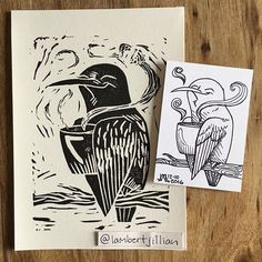 Quick monster girl interruption: a Sunday linocut print! I took one of my hummingbird ATCs I'd drawn at the East Portland Holiday Bazaar and adapted her for the linocut. Hummingbirds + linocut = YES. This happy gal is drinking hot nectar! (Or coffee, or tea - whatever you can imagine.) :D She's going to be a holiday card for family and friends! . Today's monster girl is ready to go; I just need to write her bio. Stay tuned! <3 . #bird #birds #hummingbird #hummingbirdsofinstagram #linocut…