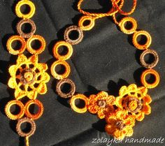 Summer crochet necklace and bracelet set in light by zolayka