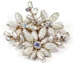 This is the brooch by D&E Juliana that will go with Century earrings in another listing. Just perfect for the Holiday's wearing and giving. This ...  #aurora borealis #flowers #opal #vintage #jewelry