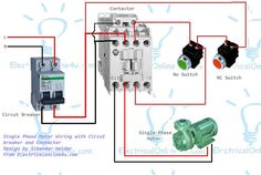 contactor wiring guide for 3 phase motor with circuit breaker rh pinterest com three phase contactor circuit diagram 3 phase contactor connection diagram