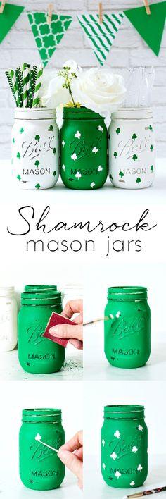 Shamrock Mason Jars - St. Patrick's Day Craft Ideas with Mason Jars www.masonjarcraftslove.com