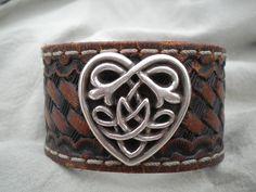 Brown Leather Belt Bracelet with Decorative by JimbosTexasVintage, $20.00