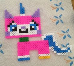 Unikitty from The Lego Movie hama perler beads by Nicky Pybus