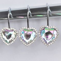 Shower Curtain Hooks Rings   Heart Multi Color Rainbow Gems And Bling  Rhinestones Bath Set Cute