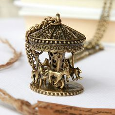 Childhood memories lovely Carousel necklace by Sevinoma on Etsy from Sevinoma on Etsy