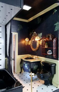 Love the shelving above the toilet (scroll down to see)  | Source: My Dream Dollhouse
