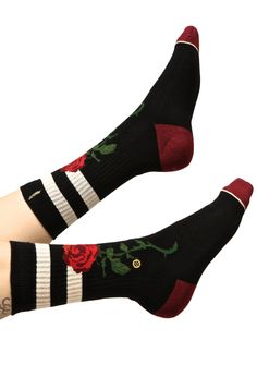 Stance The Rose Classic Crew Socks will have yew strollin' among the rosez, babe. These socks feature a black construction, red toes, white stripes at the top, and a red rose on the front.