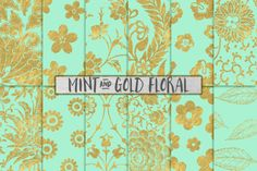 Mint and Gold Floral Backgrounds by PaperElement on @creativemarket