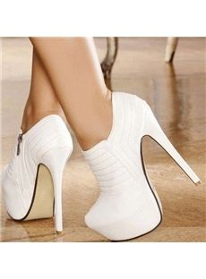 Elegant White Closed-Toe Ankle Boots I got these in black, LOVE them! White Ankle Boots, Platform Ankle Boots, Platform High Heels, High Heel Boots, Shoe Boots, White Shoes, White Heals, Pumps, High Heels Stilettos