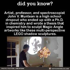 Artist, professor, and spectroscopist John V. Muntean is a high school dropout who ended up with a Ph.D. in chemistry and wrote a thesis that inspired him to sculpt Magic Angle artworks like these multi-perspective LEGO shadow sculptures. Source...