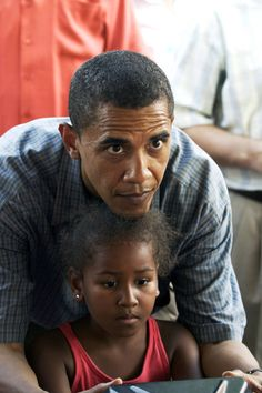 President Obama with younger daughter, Sasha