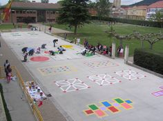 Playground painting ideas - Aluno On Preschool Playground, Playground Games, Backyard Games, Outdoor Games, Playground Painting, Outside Games, Outdoor Play Spaces, School Murals, Outdoor Classroom