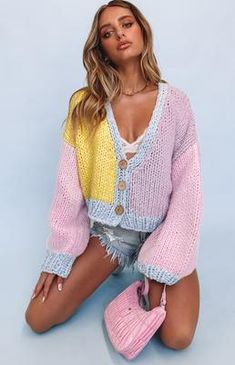 Cute Summer Outfits, Fall Outfits, Casual Outfits, Womens Fashion Stores, Ladies Fashion, Brand Name Clothing, Chunky Knit Cardigan, Knitwear Fashion, Indie Outfits