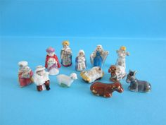 ♥ Amazing Miniature Porcelain Gold Trimmed Nativity Set RARE on eBay with Box | eBay