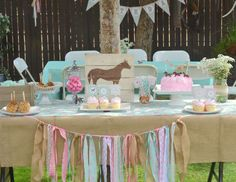 Avah's Horse Party - Horse, Burlap, Pony, Floral, Pink, Teal, cowgirl, third, shabby chic