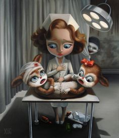 Xue Wang illustrates surreal scenes mixed with subjects from a child's toy box.