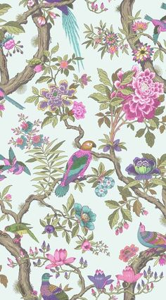 Fontainebleau Wallpaper A wonderfully exuberant 'tree of life' design wallpaper, inspired by the Palace of Fontainebleau outside Paris. Comprising leafy stems upon which are perched a flock of exotic and colourful birds on a pale duck egg background.