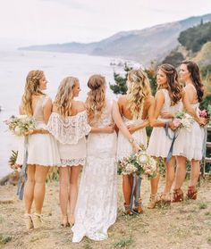 Get the Look: White Lace Boho Bridesmaid Dresses SouthBound Bride Credit: Priscila Valentina/ Sitting In A Tree Design/Siren Floral Co. via Green Wedding Shoes Mismatched Bridesmaid Dresses, Lace Bridesmaids, Short Lace Bridesmaid Dresses, Bohemian Beach Wedding, Boho Wedding Dress, Beach Wedding Shoes, Wedding Dresses, Bohemian Style, Wedding Hair