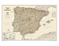 Buy Spain and Portugal Executive Wall Map Country Maps, Wall Maps, Spain And Portugal, Atlantic Ocean, Vintage World Maps, Stuff To Buy