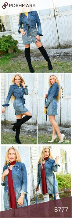 """DENIM JACKET/ DRESS Brand new. Boutique item.   Fabulous and Timeless denim jaxket/dress. This piece can be worn as a jacket with a pair of leggings/ jeans and a top or buttoned closed as a dress with a faux fur vest. Versatile and great for the season!!  As seen in pics. True to size. S: Bust 17""""across, length 30"""" M: Bust 18""""across, length 30.5"""" L: Bust 19"""" across, length 30"""" Hand measurements are approx  Fall winter Jean classic casual popular MODA ME COUTURE Jackets & Coats Jean Jackets"""