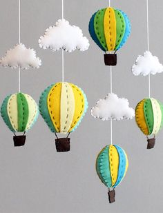 Diy Baby Mobile Kit - Make Your Own Hot Air Balloon Crib Mobile, Blue Green…