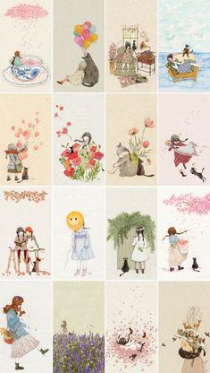 배경화면 후원 리워드 Acrylic Painting For Kids, Painting Of Girl, Art And Illustration, Plant Cartoon, Disney Images, Dibujos Cute, Japanese Patterns, Korean Artist, Whimsical Art