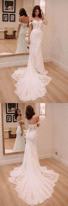 Off Shoulder Court Train Chiffon Wedding Dress with Lace Appliques WD220 #wedding #weddingdress #chiffon #pgmdress #laceweddingdresses