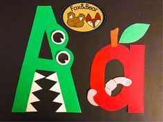 Letter Art Templates~ A is for Alligator & Apple Preschool Letter Crafts, Alphabet Letter Crafts, Abc Crafts, Daycare Crafts, Letter Art, Letter Tracing, Toddler Learning Activities, Alphabet Activities, Preschool Activities