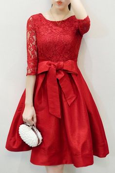 Elegant Round Neck Half Sleeve Hollow Out Bowknot Embellished Dress For Women