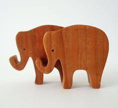 Toy Elephants Wooden Miniature Noahs Ark Animals Zoo Play Set Hand Cut Scroll Saw. $10.00, via Etsy. #babylettostyle