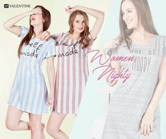 Always wear stylish Nighties to bed. You never know who you will meet in your dreams. Stylish Nighty collection from Valentine. https://www.valentineclothes.com/women/nighties.html #Nighty #Fashion #FashionNighties #Valentine #ValentineClothes #MadewithLove #FolllowyourHeart #Leisurewear #HappyShopping