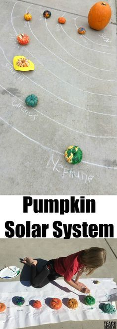 Pumpkin science: paint a pumpkin solar system. Use the mini pumpkins that are always in the store during the Fall!  via @karyntripp Autumn Activities For Kids, Kids Learning Activities, Science For Kids, Toddler Activities, Preschool Activities, Homeschooling Resources, Preschool Education, Curriculum, Stem Projects
