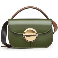 Marni Leather Shoulder Bag (33.370 CZK) ❤ liked on Polyvore featuring bags, handbags, shoulder bags, green, real leather purses, green handbags, leather handbags, structured handbags and marni shoulder bag