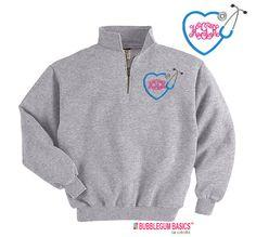 Personalized Nurse Nursing Heart Stethoscope RN Embroidered Monogram Quarter Zip Sweatshirt Pullover Jacket Custom Initials - Nursing RN LPN...
