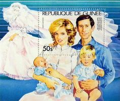 """Princess Diana """"Diana and Family"""" Commemorative Stamp Sheet Issued by Guinea, Diana - Princess of Wales 1961 - 1997."""