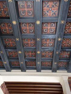 Villa Kerylos Ceiling Painting, Ceiling Art, Ceiling Beams, Wooden Ceilings, Hacienda Style, False Ceiling Design, Ferrat, Furniture Decor, Kitchen Furniture