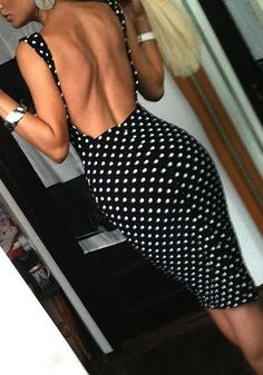 Polka Dot Low-Back Bodycon Dress