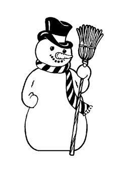 Coloriage d'un grand bonhomme de neige pour Noël.