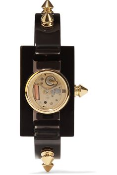 Black plexiglass, gold-tone metal Push clasp fastening  Water resistant up to 30 meters Comes in a presentation box Made in Italy