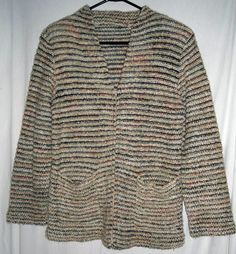 """$16.00 Lovely Striped Sweater  Zippered Front  Two Cute Front Pockets  Size Medium  Fits up to 40""""Bust  Measures 26""""Shoulder to Hem  Measures 15""""Under arm to Hem  Very Good Condition  Free Shipping"""