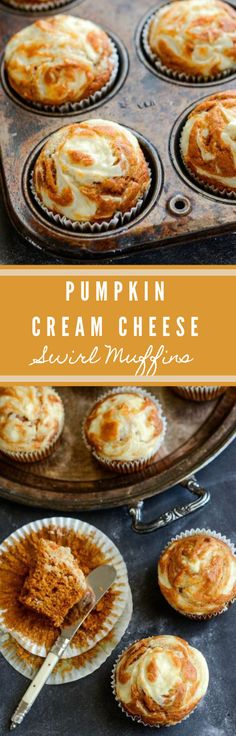 PUMPKIN CREAM CHEESE SWIRL MUFFINS #pumpkin #desserts #healthycake #recipes #muffins
