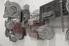 Jane South, cut paper and balsa wood, amazingly crafted architecturalesque installations/wall pieces